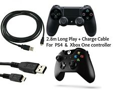 2.8m Play + Charging Charger Lead Cable FITS PS4 + Xbox One Controller GamePad