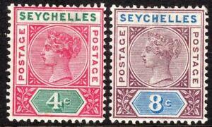 Seychelles 1890 carmine/green 4c purple/blue 8c Die I mint SG2/3