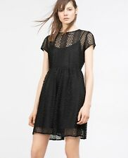 Zara Black Dress Size 14 / Large  - Party Evening Cocktail  LBD Above Knee Lace