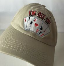 """I""""m All In Poker Hat Cap NO LIMIT Spellout 4 Aces King High Strapback VEGAS"""