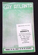 1945 GAY ATLANTA WHAT TO DO WHERE TO GO HERRENS RESTAURANT OF THE ELITE INTEREST