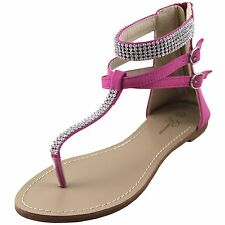 New women's shoes sandal flat gladiator rhinestones summer casual fuchsia