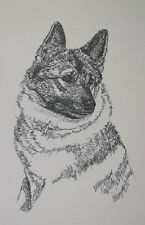Norwegian Elkhound Dog Art Portrait Print #18 Kline adds your dogs name free.