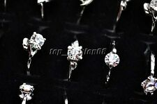 Wholesale 10Pcs Jewellery Mixed Silver Plated Party shining Crystal Rings FREE