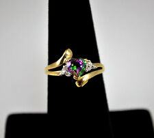 #7090 - Mystical - 10k Gold - Rainbow Quartz - Diamond Accent - Ring Size 7
