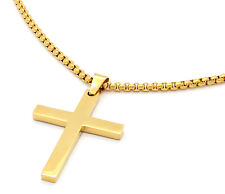 """Mens Stainless Steel Gold Plated Cross Plain Pendant 24"""" Box Necklace Chain"""