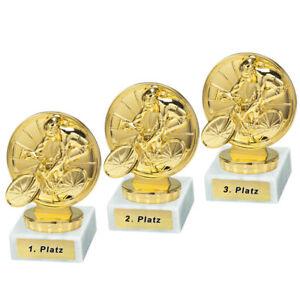 3 Radsport-Pokale mit 1.2.und 3.Platz oder Wunschgravur (P0302)