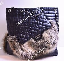 AUTH CHANEL BLACK QUILTED AGED LEATHER AND FANTASY FUR KARL'S CABAS TOTE BAG