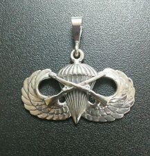 Sterling Silver U.S. Army Airborne Infantry Basic Jump Wing pendant .925