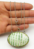 925 Sterling Silver - Vintage Abalone Shell Purse Pendant Chain Necklace - N2259