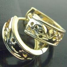 HOOP HUGGIE EARRINGS GENUINE 18K G/F GOLD MULTI-COLOUR ANTIQUE FILIGREE DESIGN