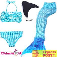 Girls Kids Rainbow Mermaid Tail Monofin Blue Bikini Swimwear Swimsuit Costume