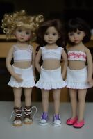 White ruffle skirt with crochet trim for Little Darling Dolls - Dianna Effner