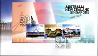 "2015 FDC Australia-New Zealand-Singapore Joint Issue. M.S. PictFDI ""CANBERRA"""