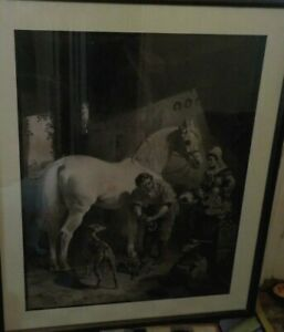 Lithograph  ENGRAVING THE VILLAGE BLACKSMITH J.F. HERRING GEORGE PATTERSON