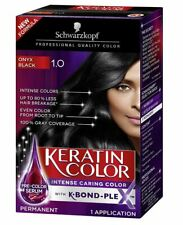 Black SCHWARZKOPF KERATIN COLOR PERMANENT HAIR COLOR CREAM 1.0 BLACK ONYX