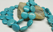 Lot of (2) Natural Blue Turquoise Gemstone 22 mm Button Shaped Bead 16'' Strand