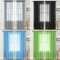 1Pc Solid Color Tulle Sheer Window Curtain Drape Living Room Balcony Patio Decor