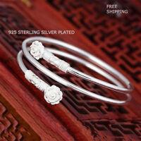 New Women Fashion Jewelry 925 Sterling Silver Flower Charm Cuff Bangle Bracelet