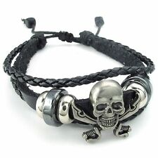 MENDINO Men's Alloy Leather Bracelet Woven Skull Swords Pirate Adjustable Black