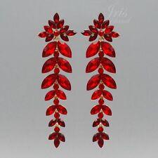 Prom Red Crystal Rhinestone Drop Dangle Chandelier Earrings Gold Tone Wedding 00