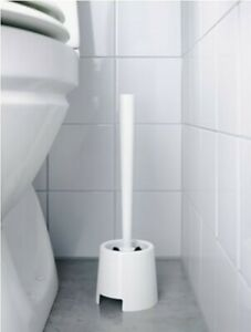 New Sealed IKEA BOLMEN White Plastic Toilet Brush w/ Holder Cup 19197 201.595.22