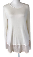 NWT ANN TAYLOR LOFT Light Weight Long Sleeve Top with Lace Trim Women's Size L