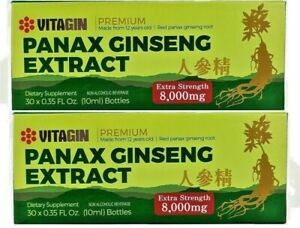 Red PANAX Ginseng Extract 12 years old Roots 8000 Mg Premium 2 Box (60 Bottles)