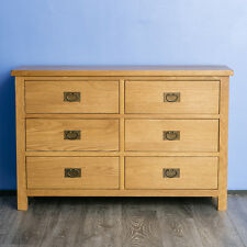 Surrey Oak Large Chest Of Drawers / Solid Wood Chest / Rustic Low Chest / New