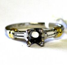 18k yellow gold platinum .20ct diamond semi mount engagement ring 5.6g 6mm round