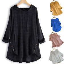 Women Summer Plain Tunic Long Top Holiday Loose Blouse T-Shirt Lady Plus Size