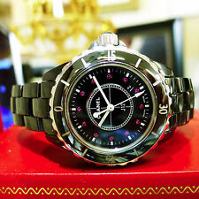 Ladies CHANEL J12 Ruby Dial Round 34mm Black Ceramic Watch