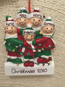 Personalised Family of 5 Tangled in Christmas Lights Tree Decoration Bauble