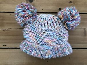 M&S Girls Pink/ Blue knitted Style 2 Bobble Hat 1-2 Years