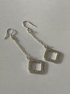Vintage Tiffany & Co 1837 925 Silver Square Drop Dangle Earrings Pierced Ears