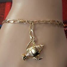 9 ct GOLD second hand open curb ankle bracelet with coffee pot