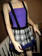NEW Black,White,Purple Tartan Check,ace Braces,Dungaree Skirt,Rock,Punk,Goth