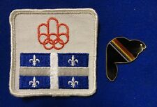 Pair Montreal 1976 Olympic Mascot Amik The Beaver Pin & Quebec Canada Flag Patch