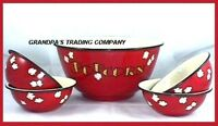 "Enamelware Red Large Popcorn Bowl Set w 4 Individual 6"" Bowls NEW Great Gift"