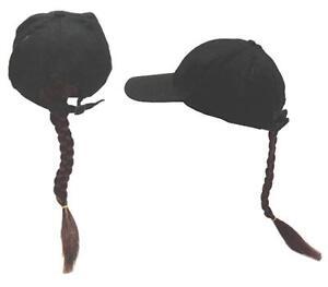 Joke Novelty Baseball Hat w Long Brown Braided Ponytail Fake Hair in the BacK
