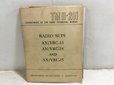 Tm 11-291. Install, Op, & Maintenance of Radio Sets An/Vrc-13 -14, -15. 1951