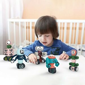 Magnetic Robots Blocks Set For Kids Stacking Toy Early Educational Playset Kid A