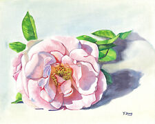 "Pink rose, Original artwork gouache/watercolor painting on paper, 8×10"" flower"
