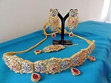 Bollywood Pakistani Indian Bridal Party Polki Studded Choker Jewellery Set