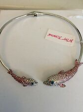Betsey Johnson Ocean drive Silver Pave Dolphin CHOKER $95 #BE21
