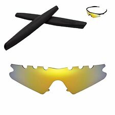 Polarized 24K Gold Replacement Vented+ Black Earsocks For Oakley M Frame Sweep