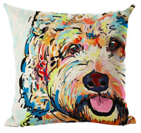 COCKAPOO / CAVAPOO Cushion Cover! Watercolour Dog Art Linen Pillow 45cm Gift UK