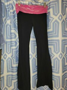 Junior's Medium Black/Pink Cotton Yoga Style Casual Knit Pants by Energie-Comfy!
