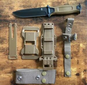 Gerber StrongArm Fixed Blade Knife Coyote Brown W/ Multi Carrying Sheath.