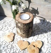 1rustic Wooden Branch Tree Tea Light Wood Candle Holder Wedding Log Mother's Day